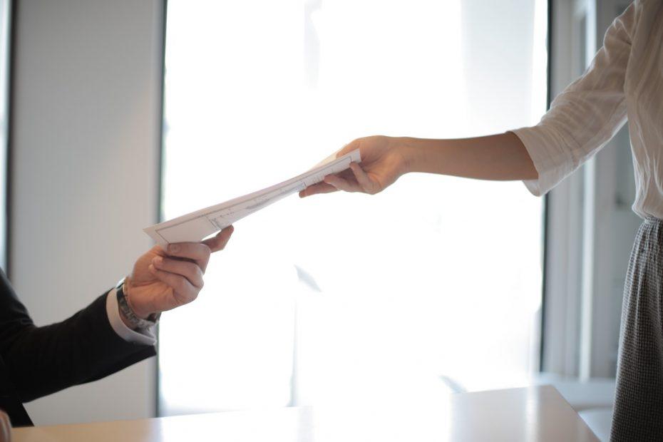Handing over a CV